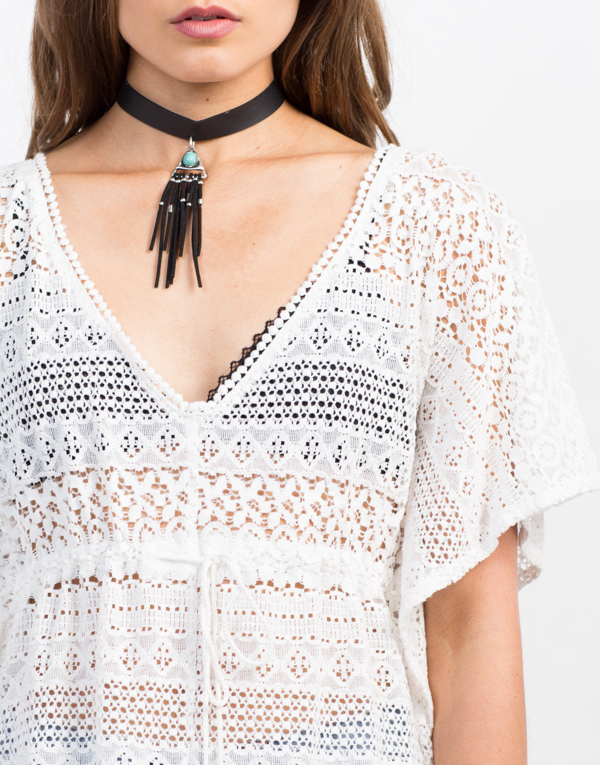 Detail of Crochet Lace Flowy Top