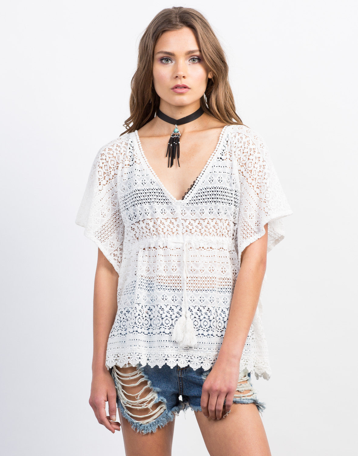 Front View of Crochet Lace Flowy Top