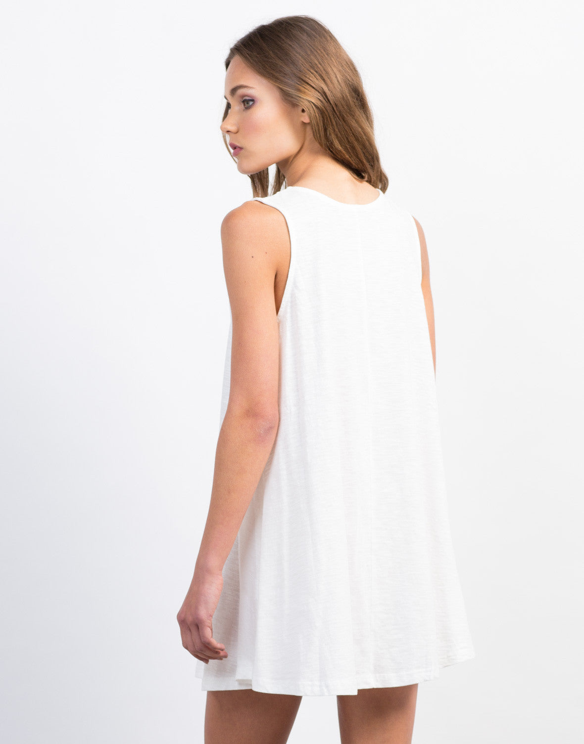 Back View of Crochet Lace Shift Dress