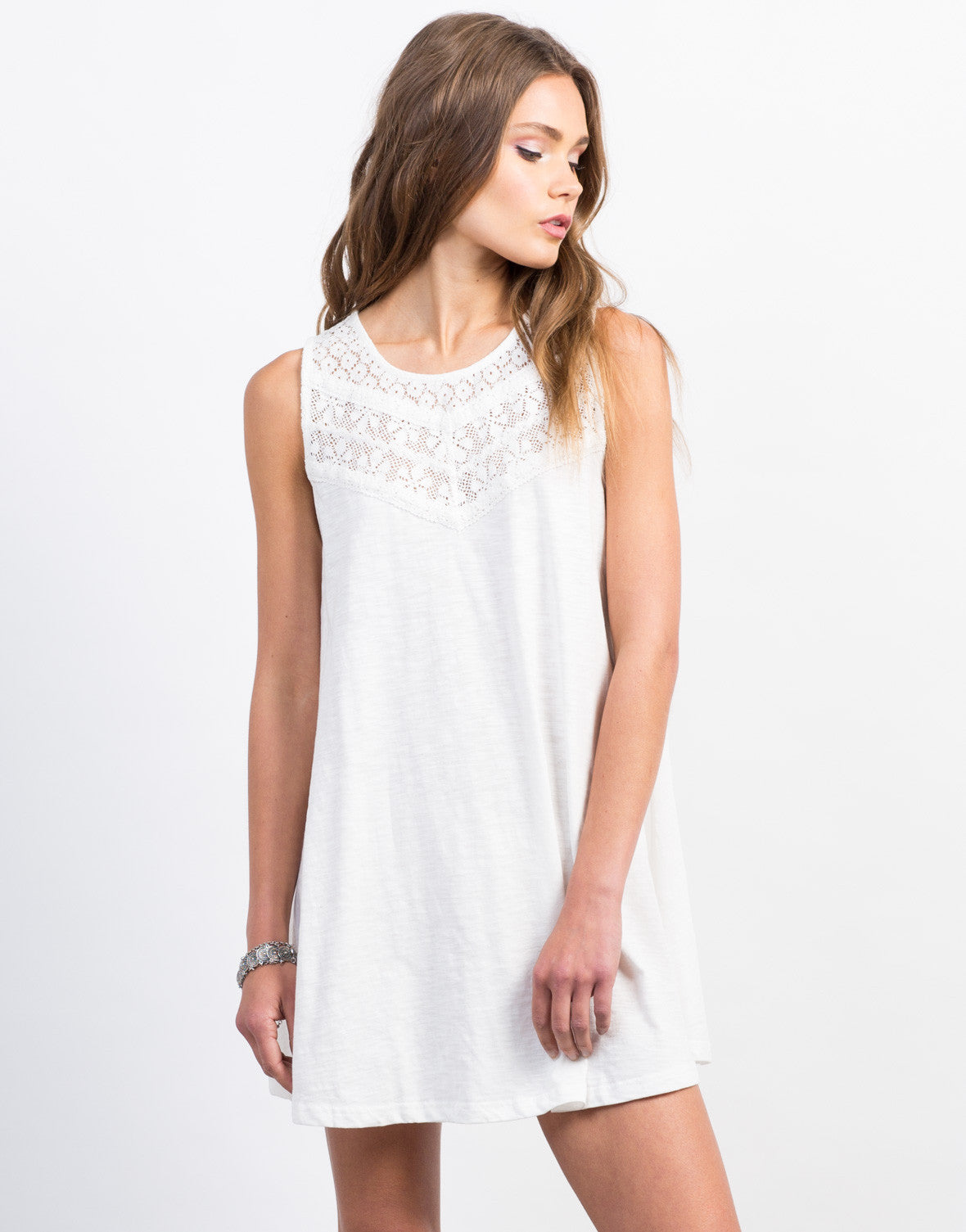 Front View of Crochet Lace Shift Dress