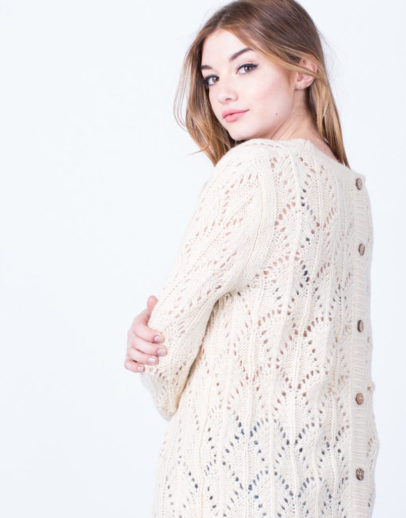 Crochet Lace Trim Sweater - 2020AVE