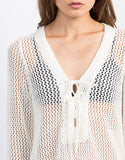Detail of Crochet Lace-Up Tunic Top