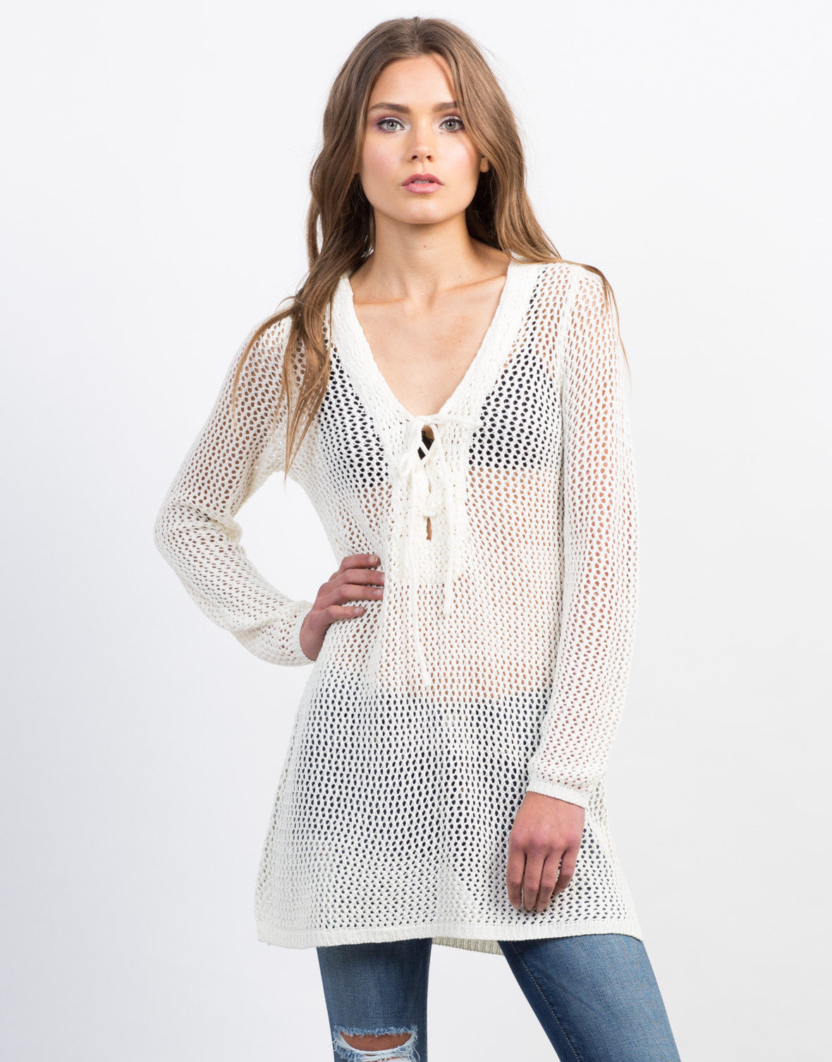 Front View of Crochet Lace-Up Tunic Top