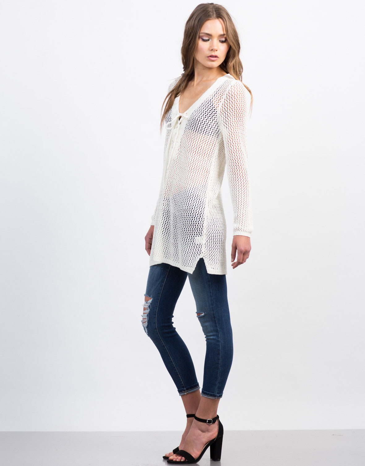 Side View of Crochet Lace-Up Tunic Top