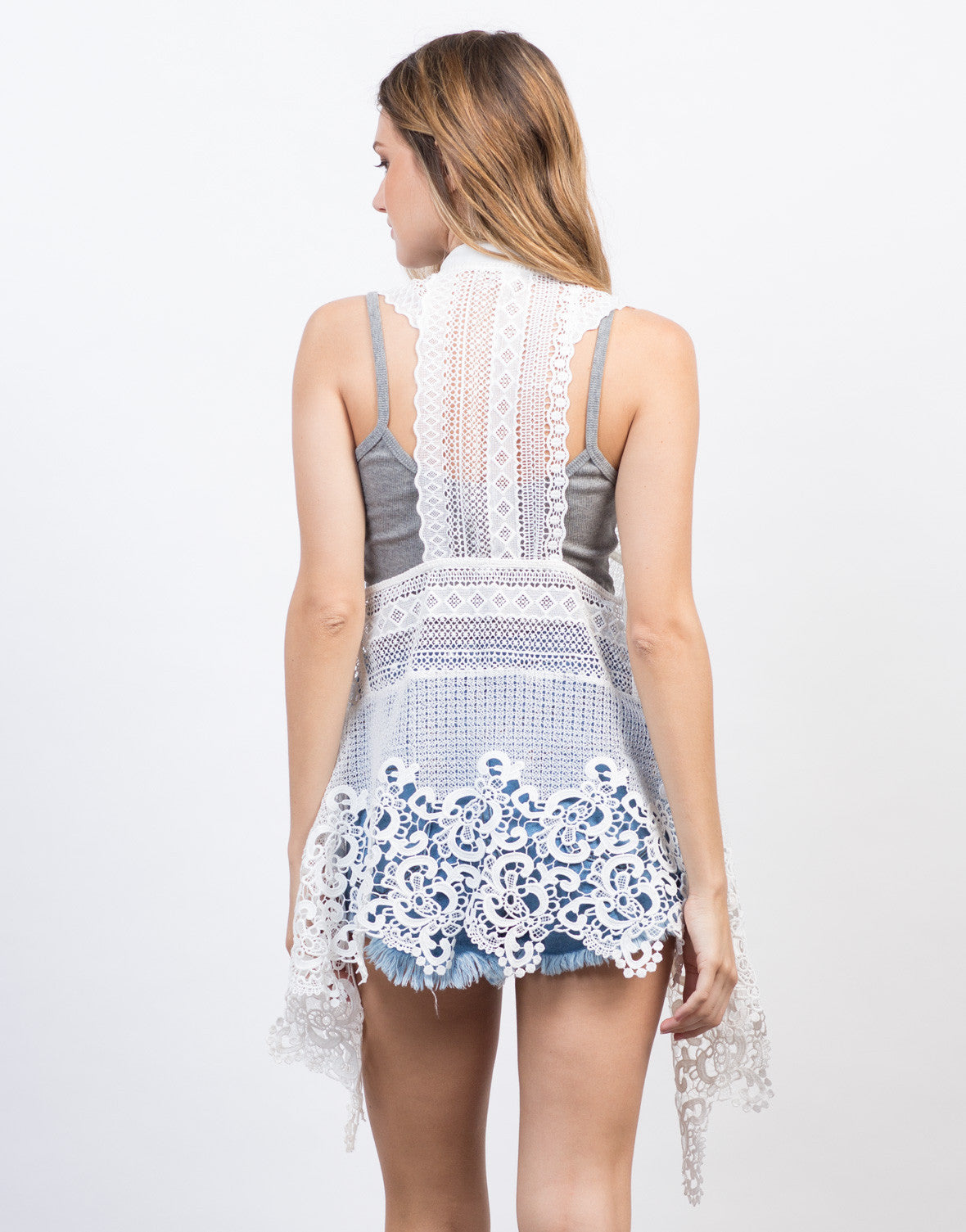 Back View of Crochet Lace Vest