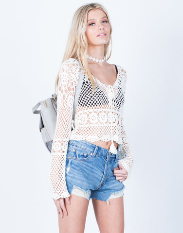Front View of Crochet Netted Top