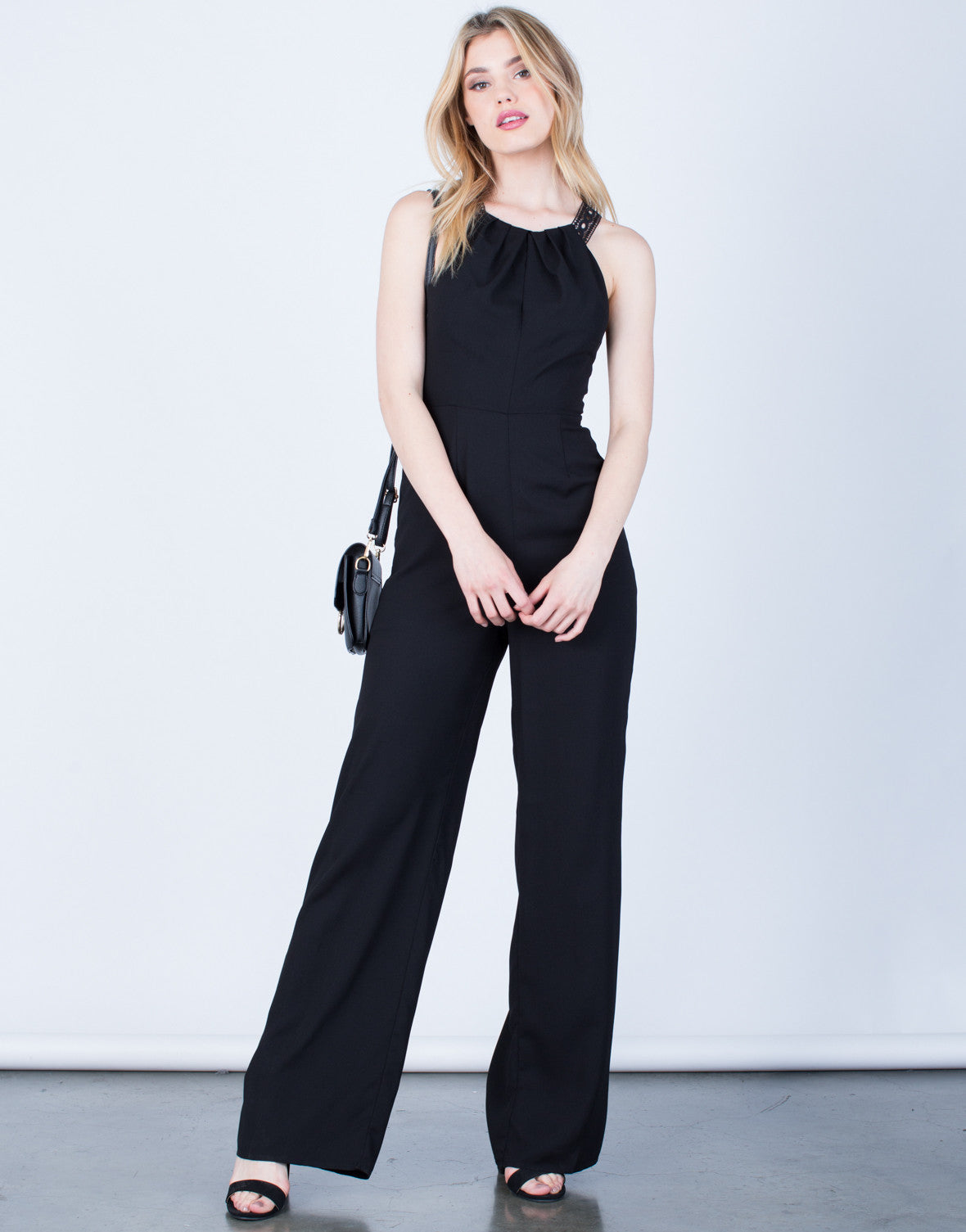 Front View of Crochet Open Back Jumpsuit