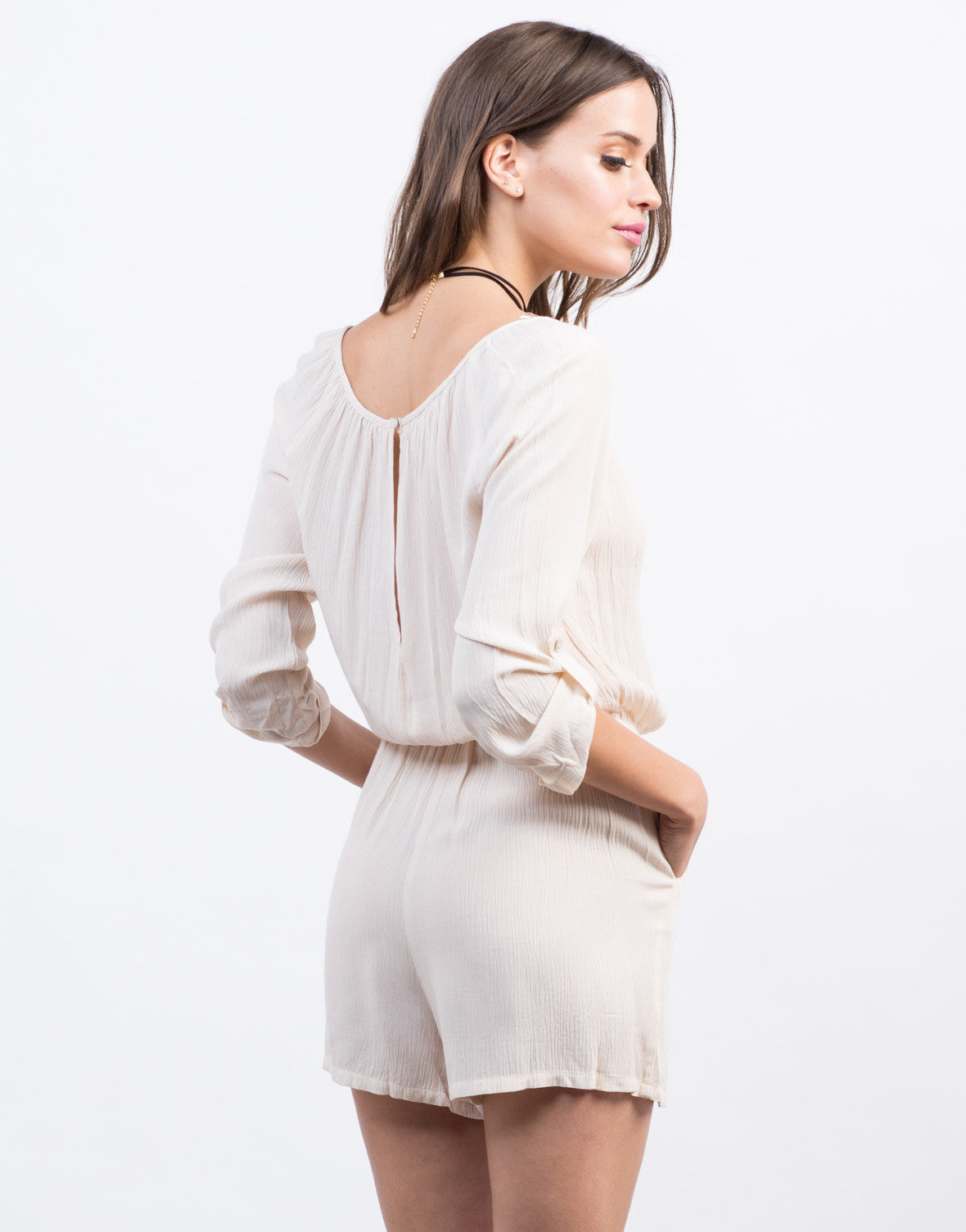Back View of Crochet Tassel Romper