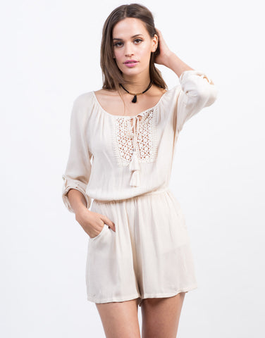 Front View of Crochet Tassel Romper