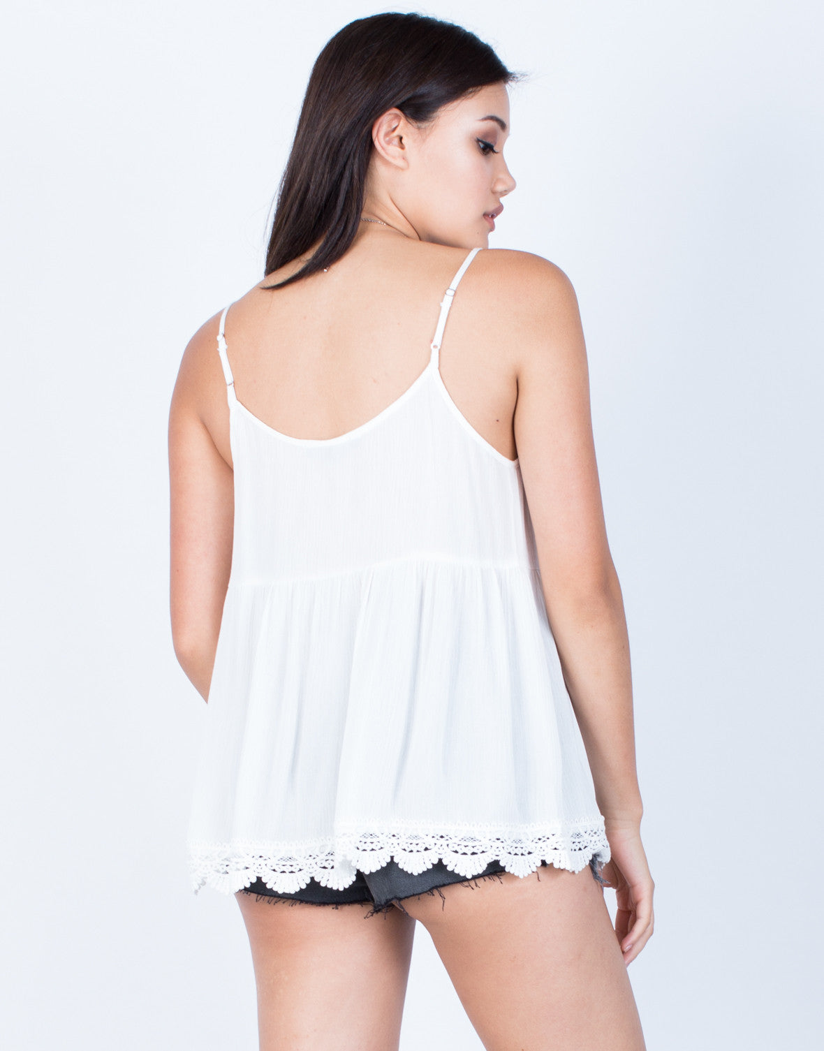Back View of Crochet Trim Cami