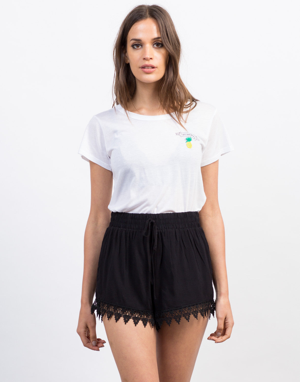Crochet Trim Lightweight Shorts - 2020AVE