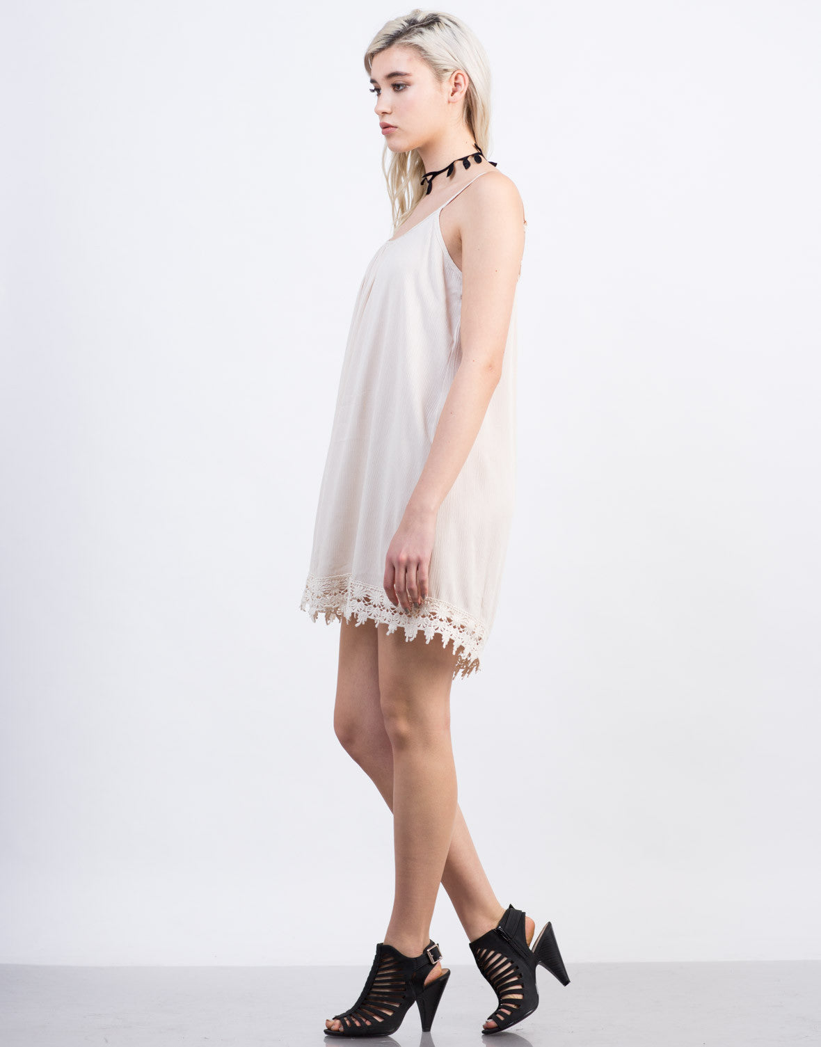 Side View of Crochet Tunic Dress