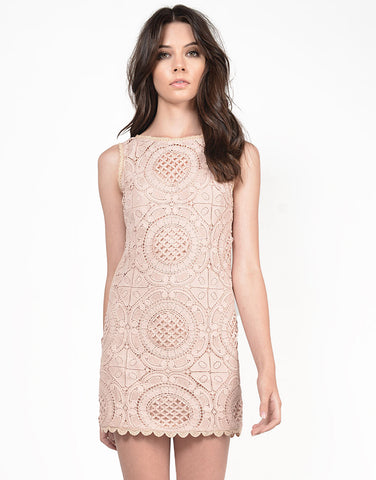 Front View of Crochet Boxy Dress