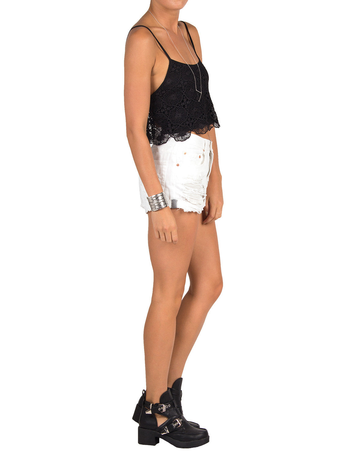 Crochet Crop Tank - Black - Large