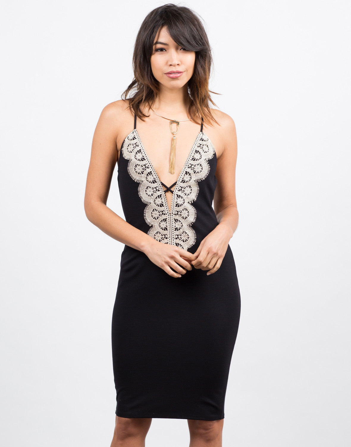 Front View of Crochet Detailed Bodycon Dress