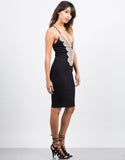 Side View of Crochet Detailed Bodycon Dress