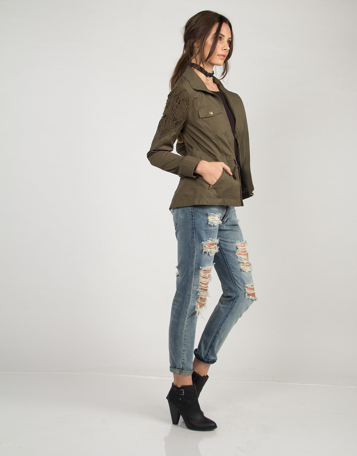 Crochet Detail Military Jacket - Olive