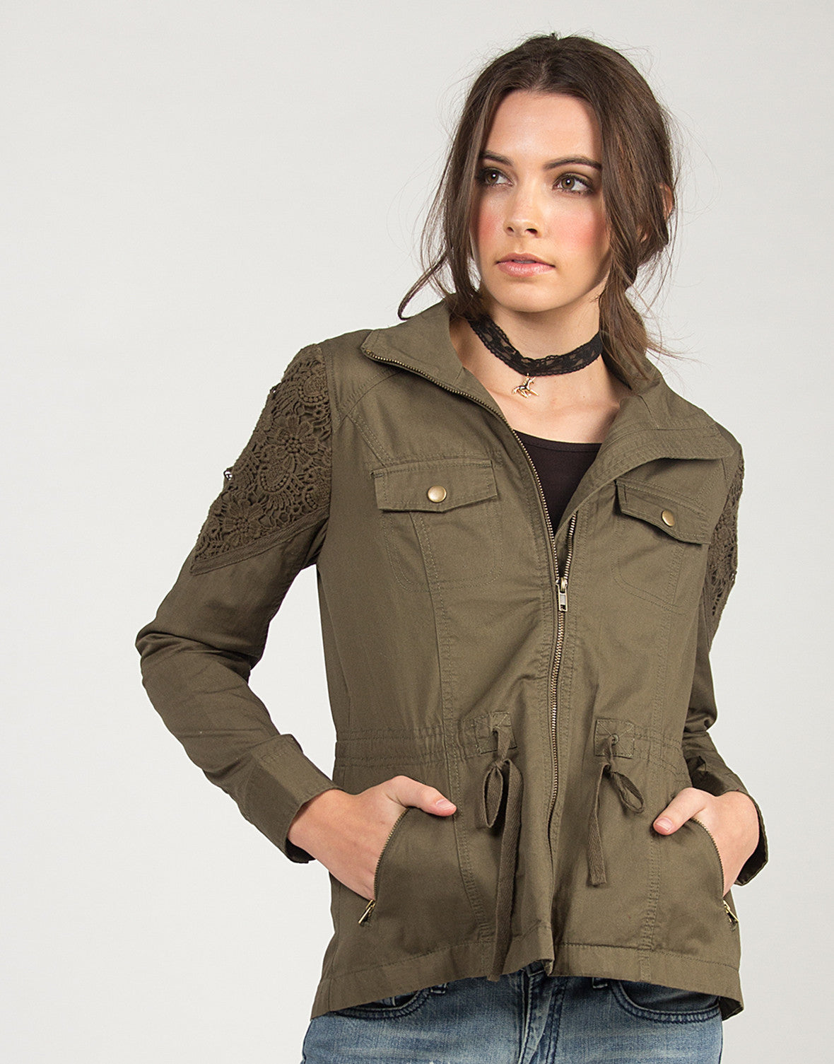 Crochet Detail Military Jacket - Olive - 2020AVE