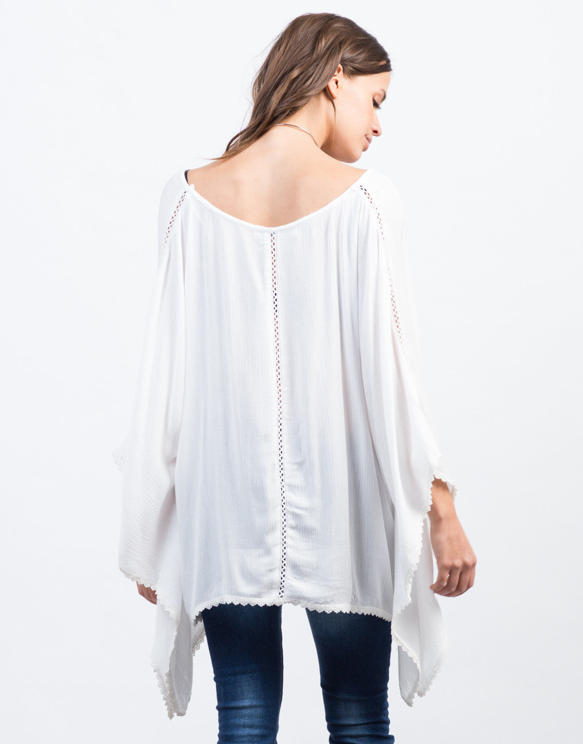 Back View of Crochet Lace Poncho Top
