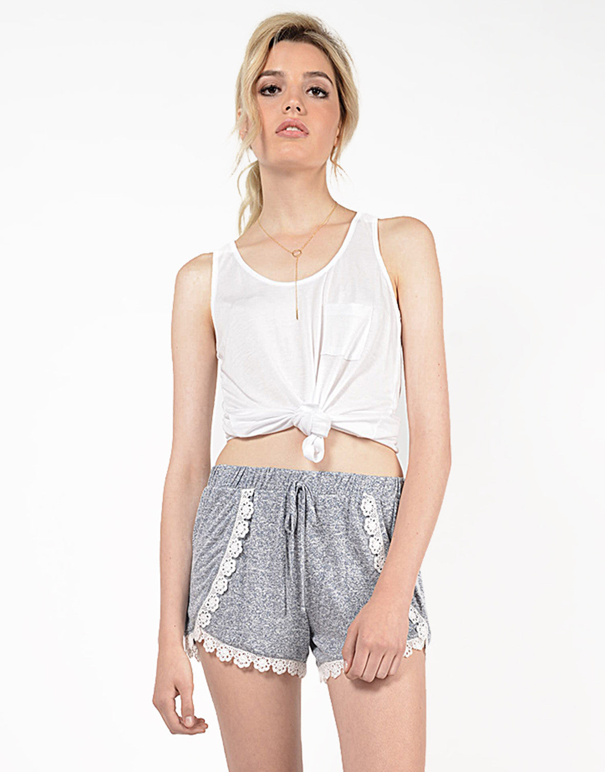 Front View of Crochet Lounge Shorts
