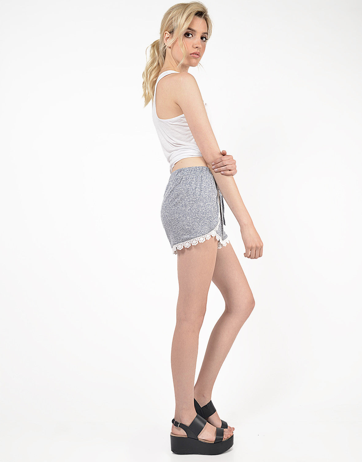Side View of Crochet Lounge Shorts