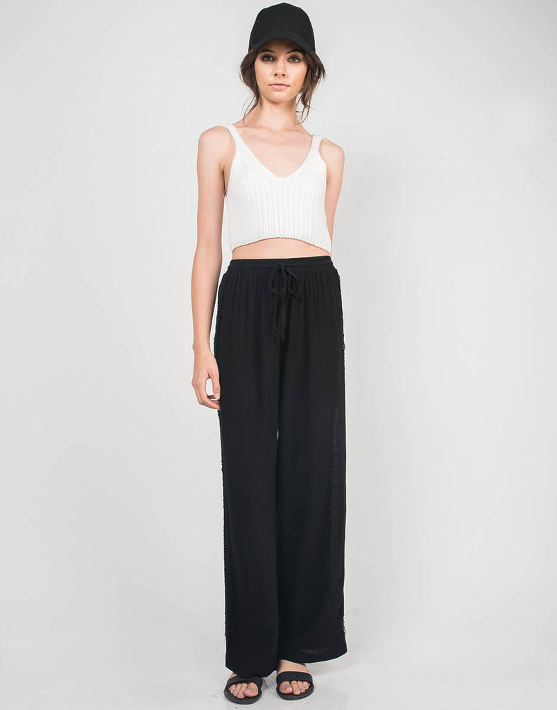 Crochet Side Gauze Pants - 2020AVE