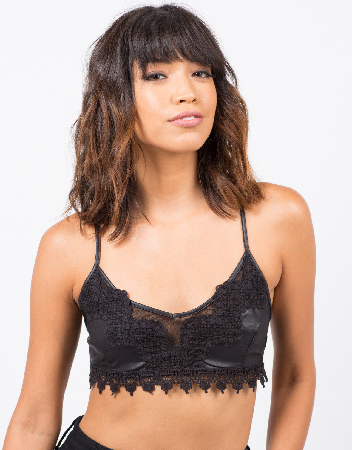 Front View of Crochet Trim Bralette