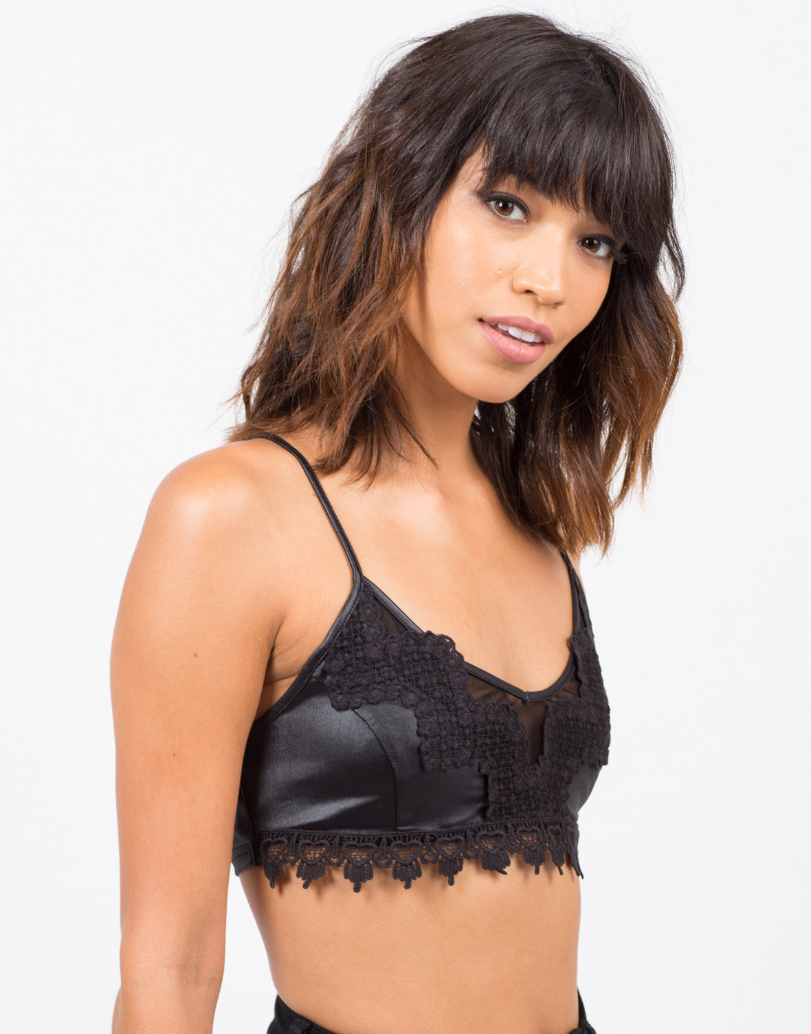 Side View of Crochet Trim Bralette