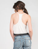 Back View of Crochet Trim Cropped Top
