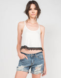 Front View of Crochet Trim Cropped Top