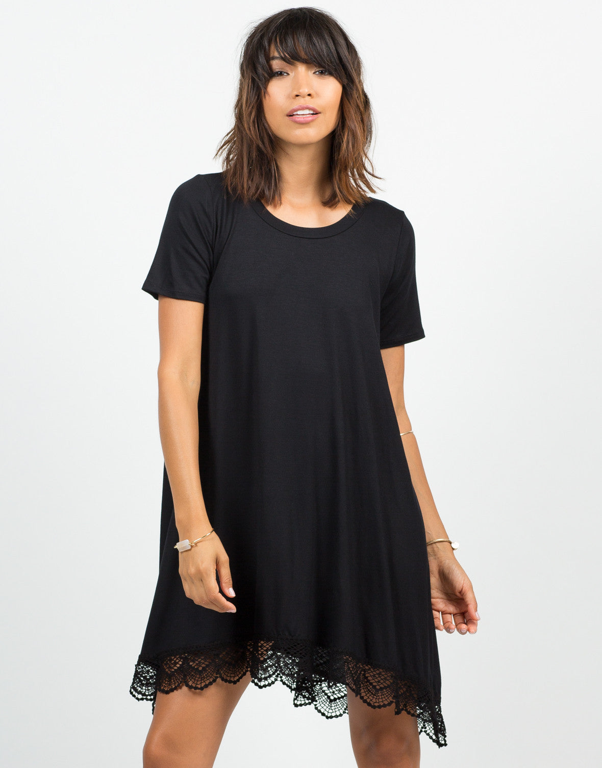 Front View of Crochet T-Shirt Dress