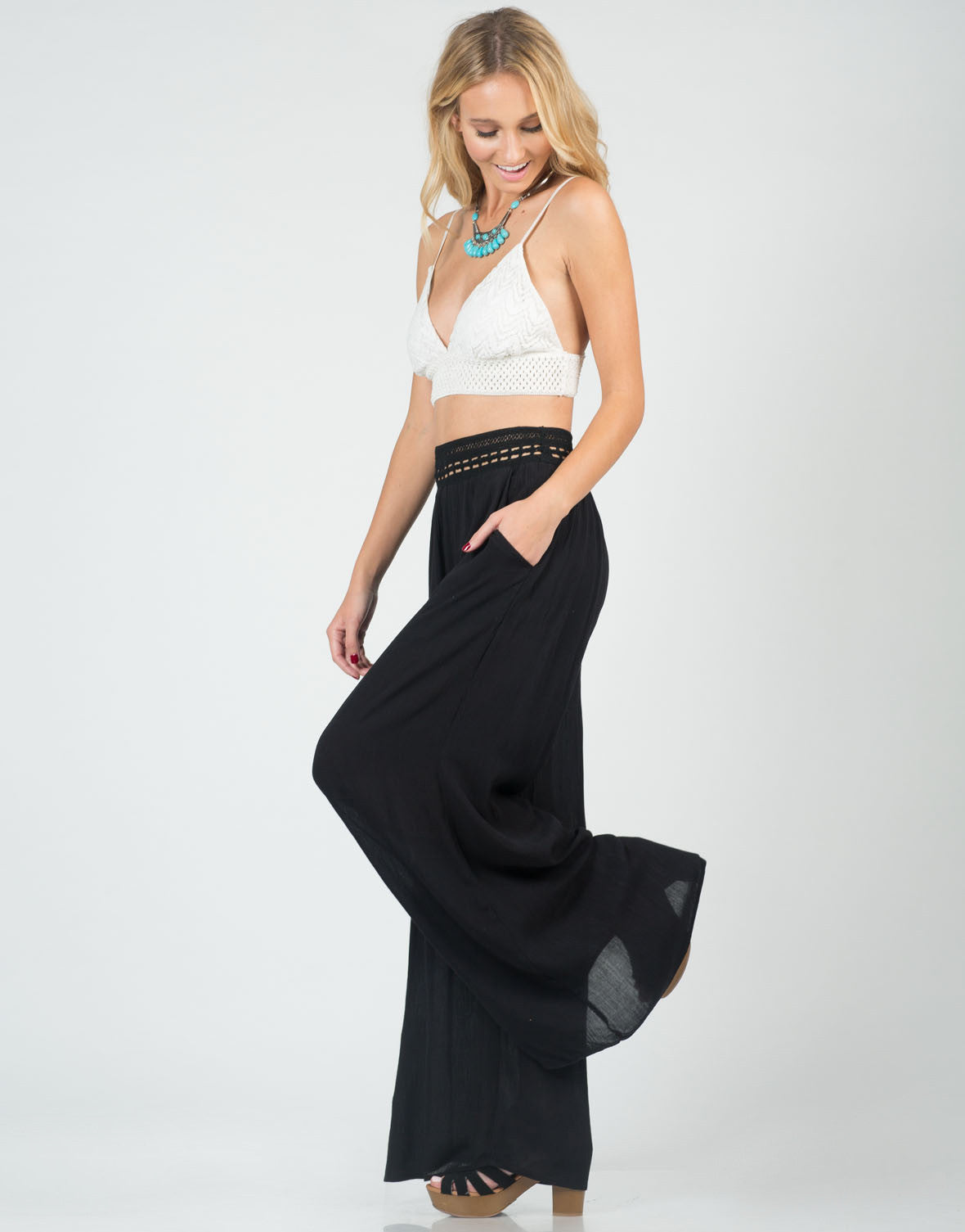 Side View of Crochet Wide Leg Pants