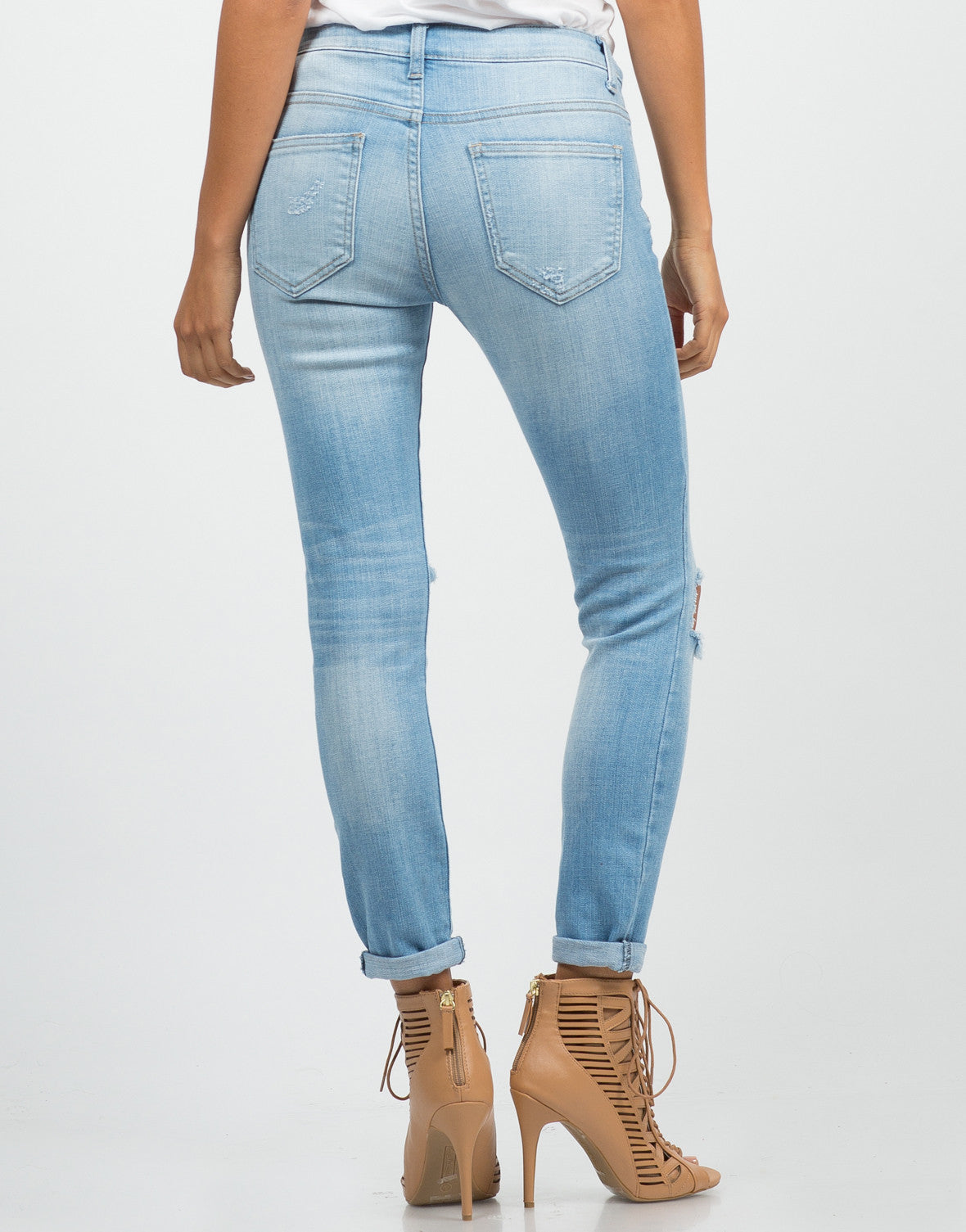 Back View of Crop Knee Cut Out Skinny Jeans