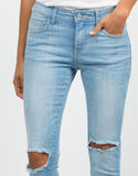 Detail of Crop Knee Cut Out Skinny Jeans