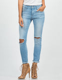 Front View of Crop Knee Cut Out Skinny Jeans