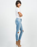 Side View of Crop Knee Cut Out Skinny Jeans