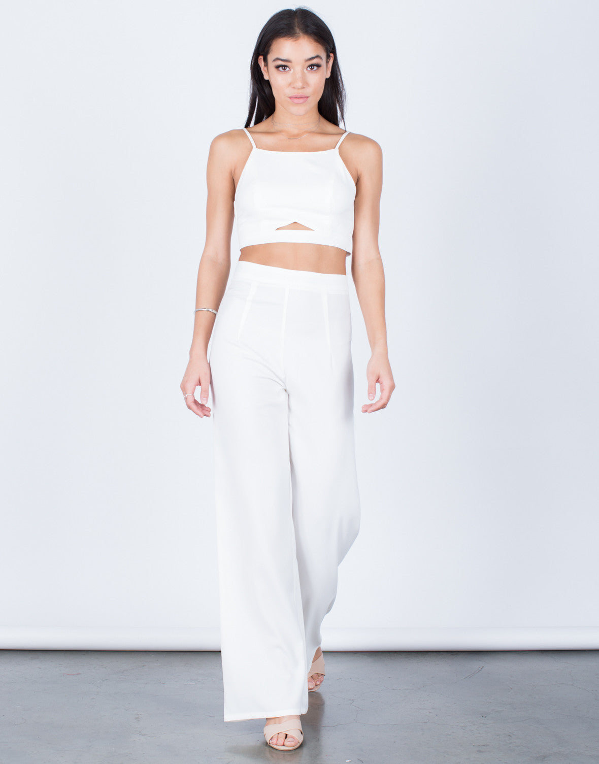 Front View of Cropped Cami and Pants Set