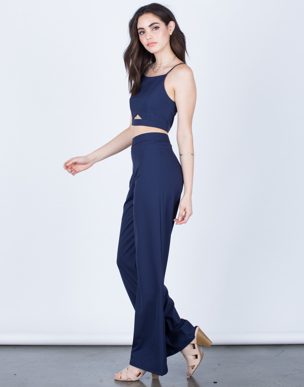 Side View of Cropped Cami and Pants Set