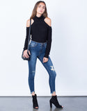 Front View of Cropped Hem Mid Rise Jeans