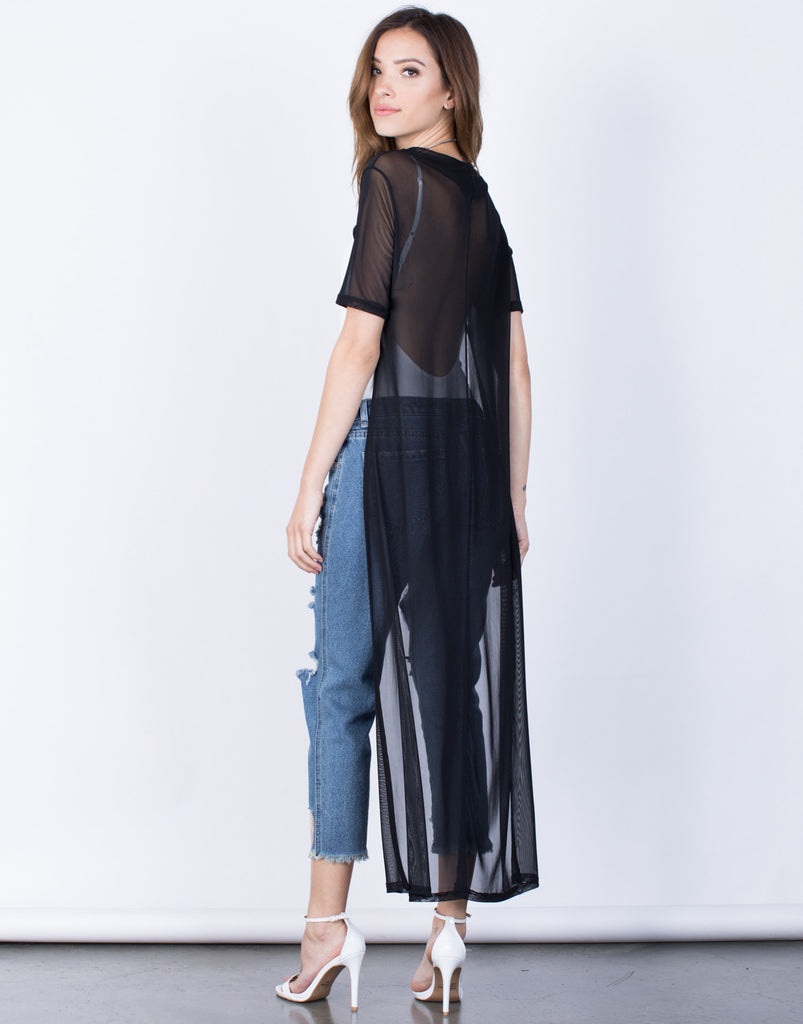 Back View of Cropped into Mesh Tunic