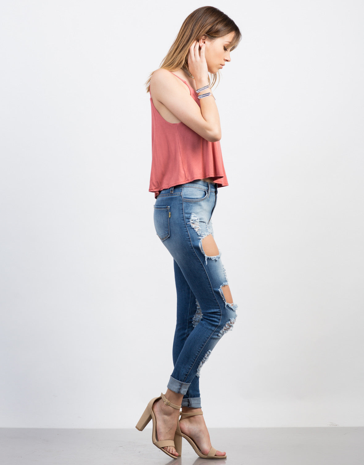 Side View of Cropped Jersey Cami