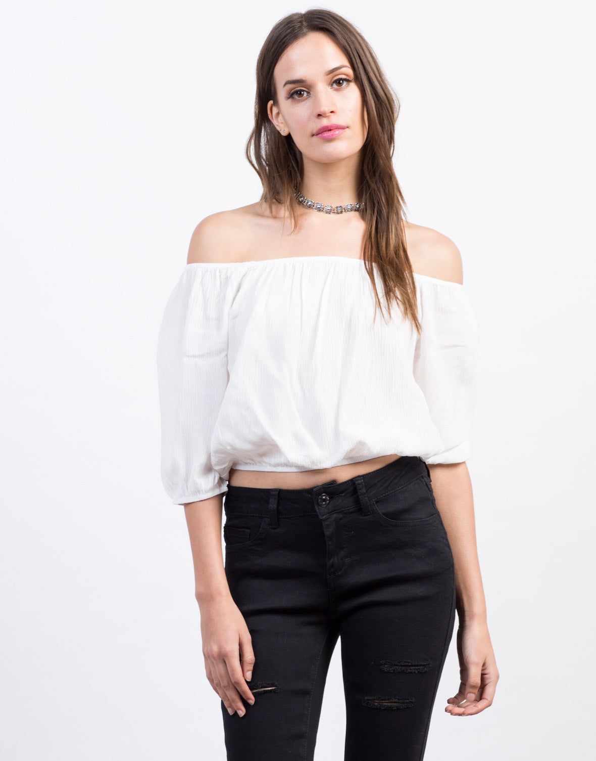 Front View of Cropped Off-the-Shoulder Top