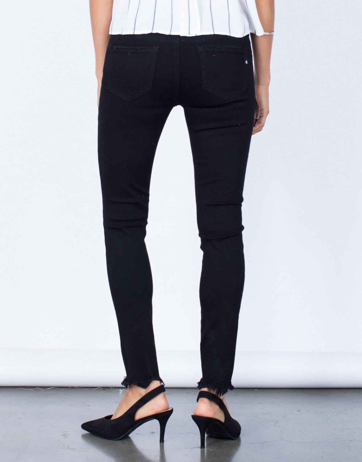 Back View of Cropped Out Skinny Jeans