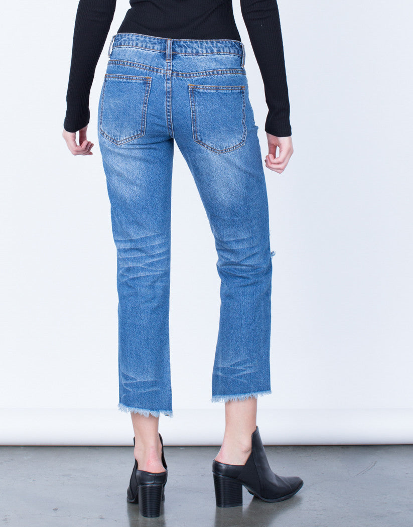 Back View of Cropped Step Hem Jeans