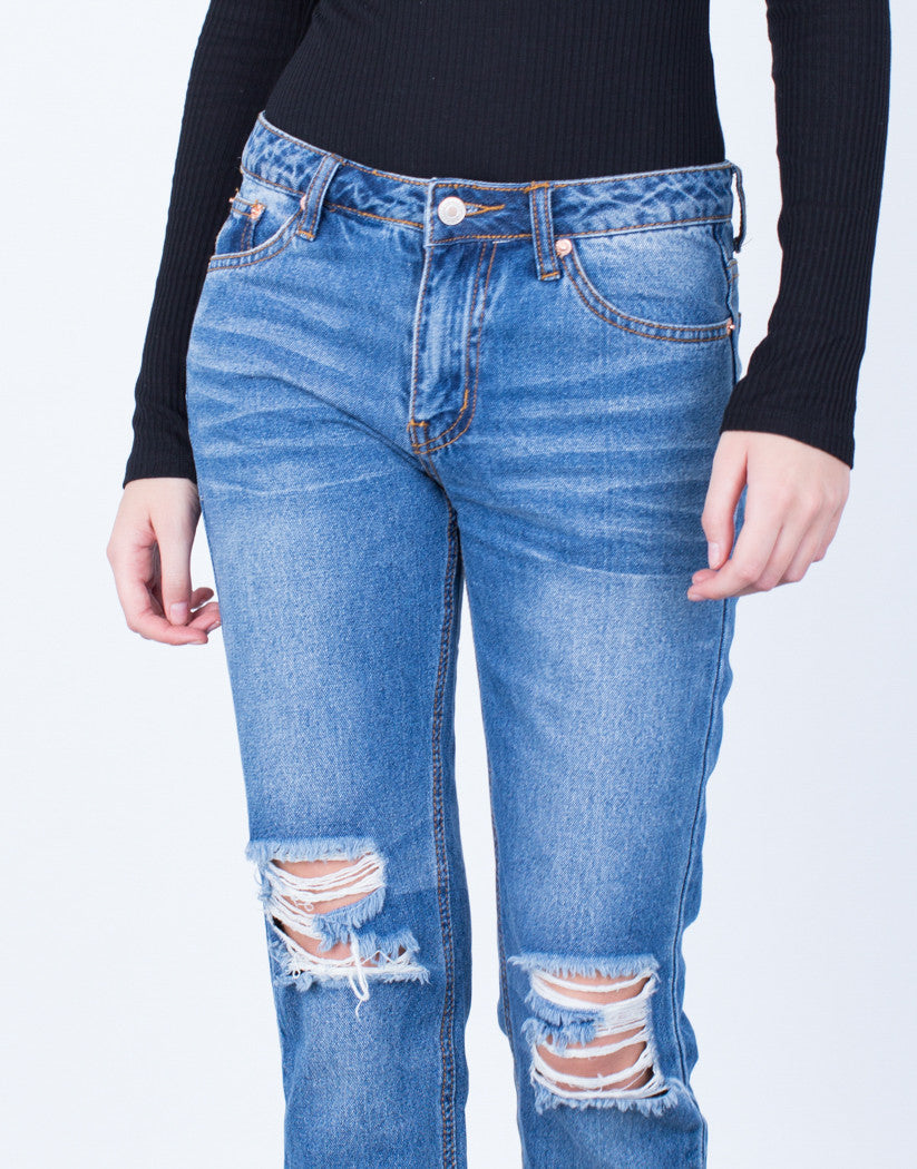 Detail of Cropped Step Hem Jeans