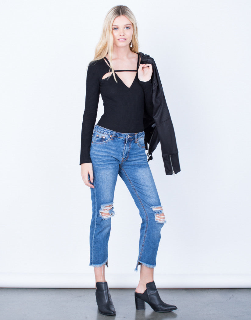 Front View of Cropped Step Hem Jeans