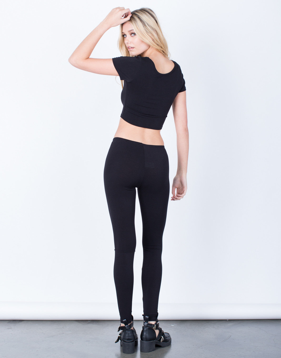 Back View of Cropped Top and Legging Set