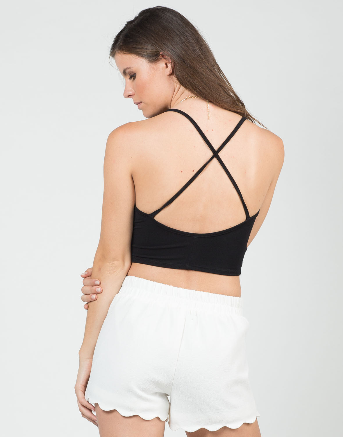 Back View of Cropped Criss Cross Back Top