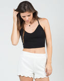 Front View of Cropped Criss Cross Back Top