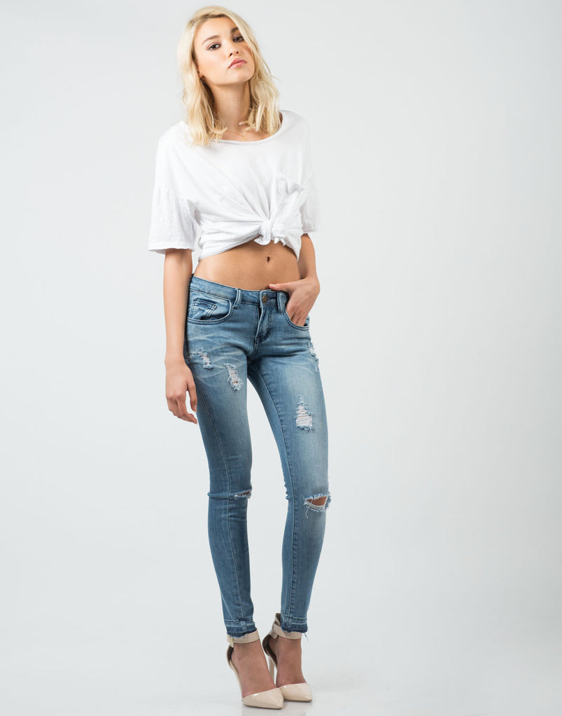 Cropped Distressed Skinny Jeans - 2020AVE